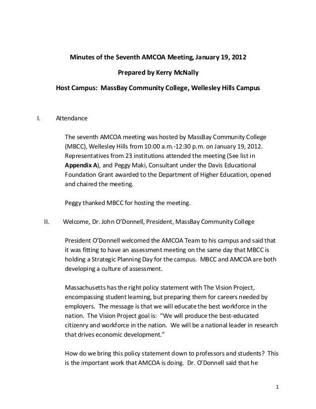 1Minutes of the Seventh AMCOA Meeting, January 19, 2012Prepared by Kerry McNallyHost Campus: MassBay Community College, We...