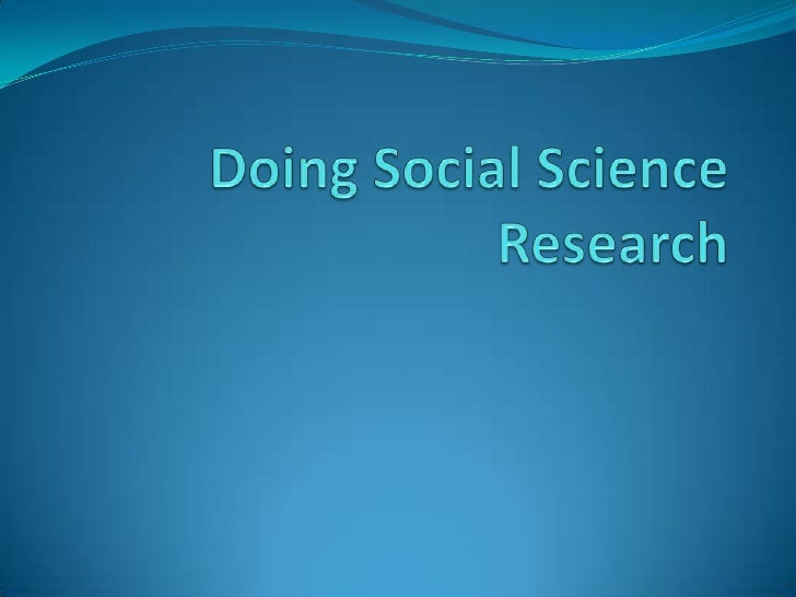 Doing Social Science Research<br />