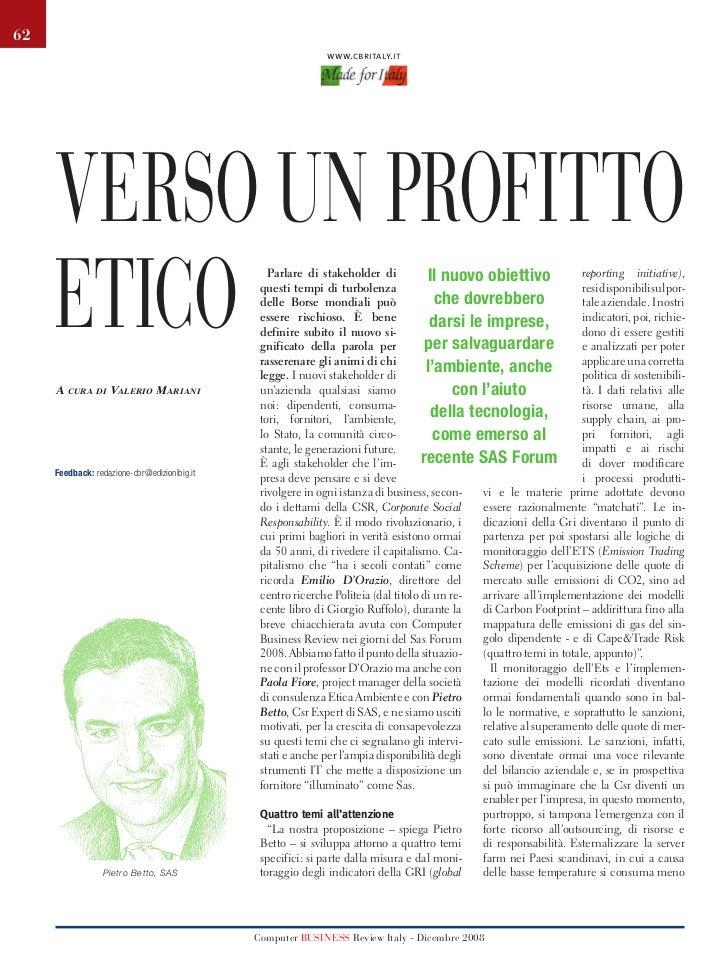 62                                                                   www.cbritaly.it          Verso un profitto          e...