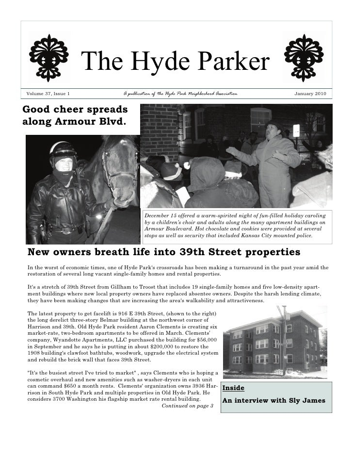 The Hyde Parker Volume 37, Issue 1                     A publication of the Hyde Park Neighborhood Association            ...