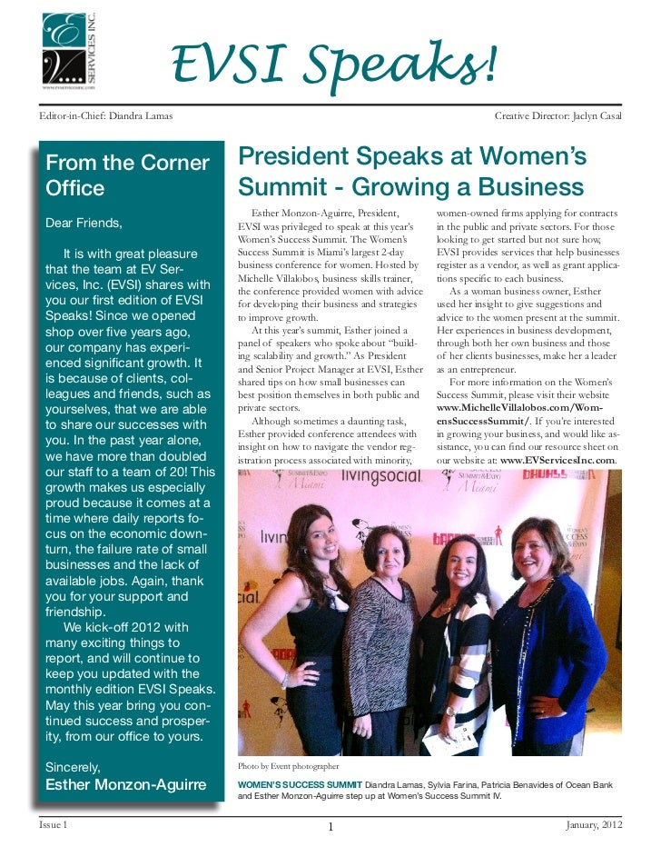 EVSI Speaks!Editor-in-Chief: Diandra Lamas                                                                   Creative Dire...
