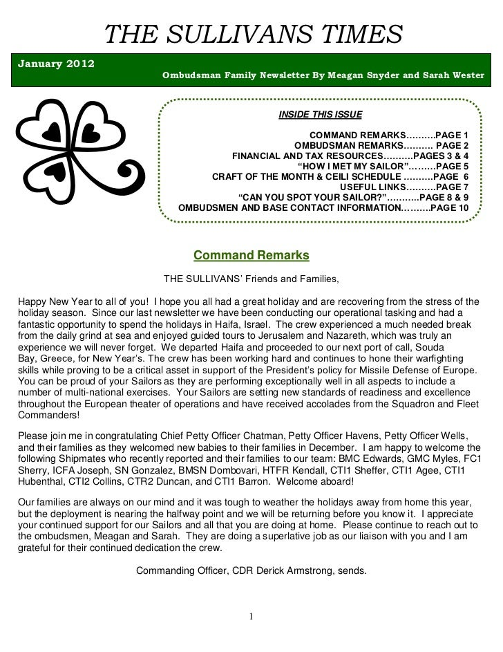 THE SULLIVANS TIMESJanuary 2012                                  Ombudsman Family Newsletter By Meagan Snyder and Sarah We...