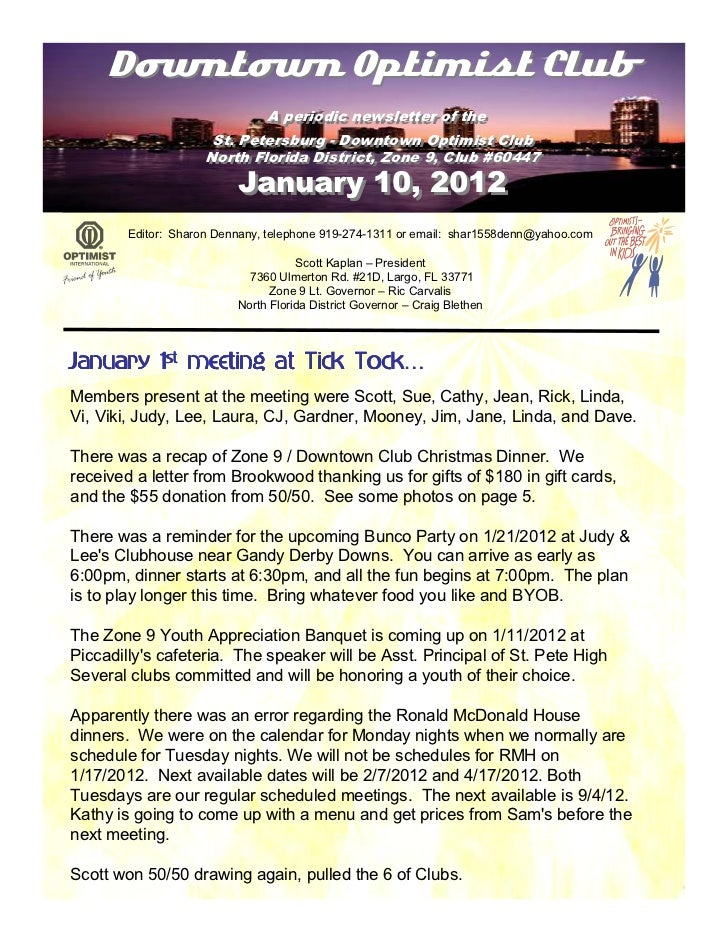Downtown Optimist Club                             A periodic newsletter of the                              A periodic ne...