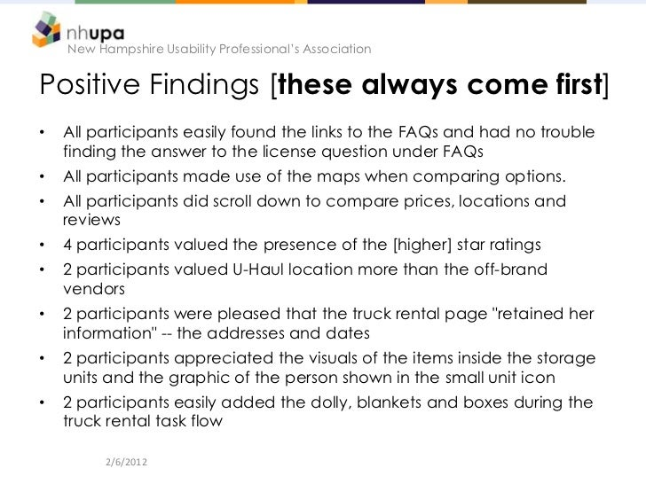New Hampshire Usability Professional's AssociationPositive Findings [these always come first]•   All participants easily f...