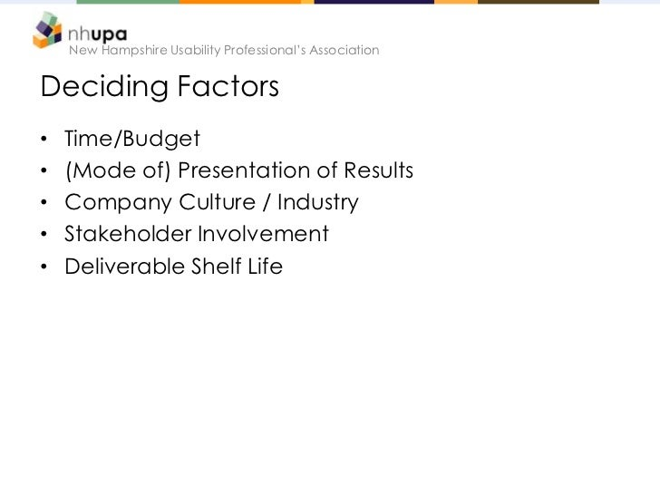 New Hampshire Usability Professional's AssociationDeciding Factors•   Time/Budget•   (Mode of) Presentation of Results•   ...
