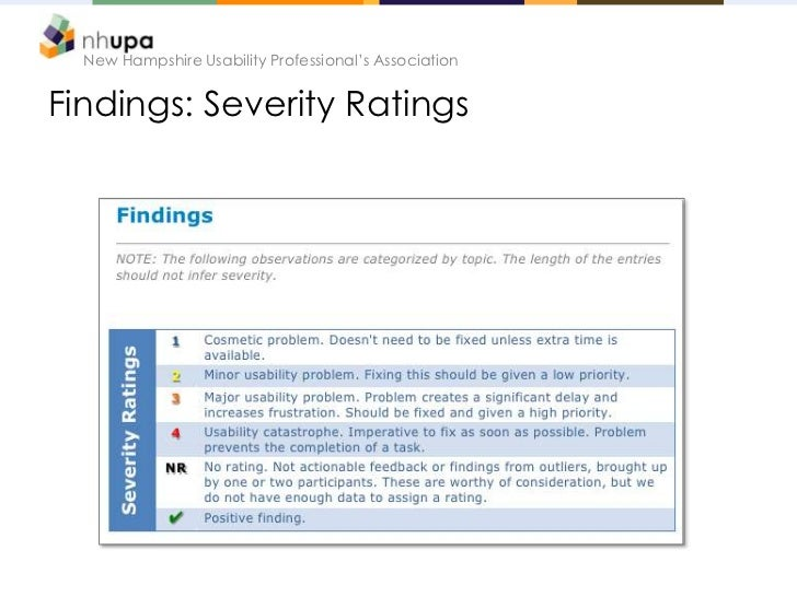 New Hampshire Usability Professional's AssociationFindings: Severity Ratings