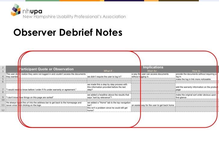New Hampshire Usability Professional's AssociationObserver Debrief Notes