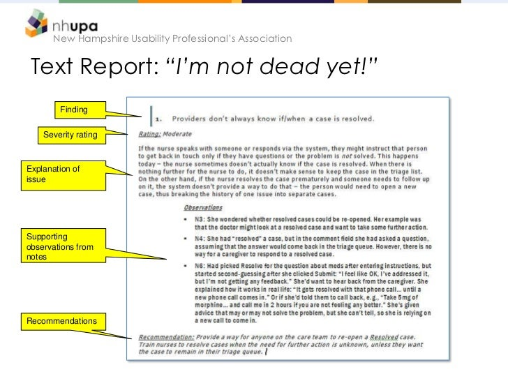 """New Hampshire Usability Professional's Association Text Report: """"I'm not dead yet!""""        Finding    Severity ratingExpla..."""