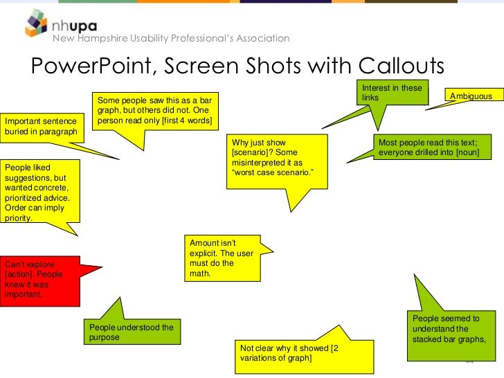 New Hampshire Usability Professional's Association       PowerPoint, Screen Shots with Callouts                           ...