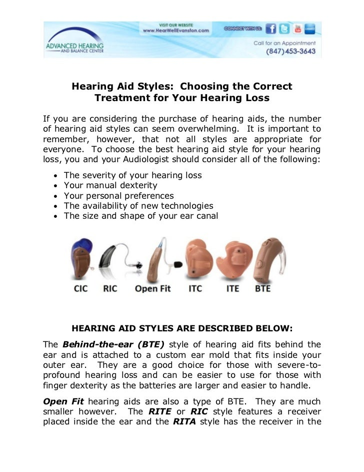 Hearing Aid Styles: Choosing the Correct          Treatment for Your Hearing LossIf you are considering the purchase of he...