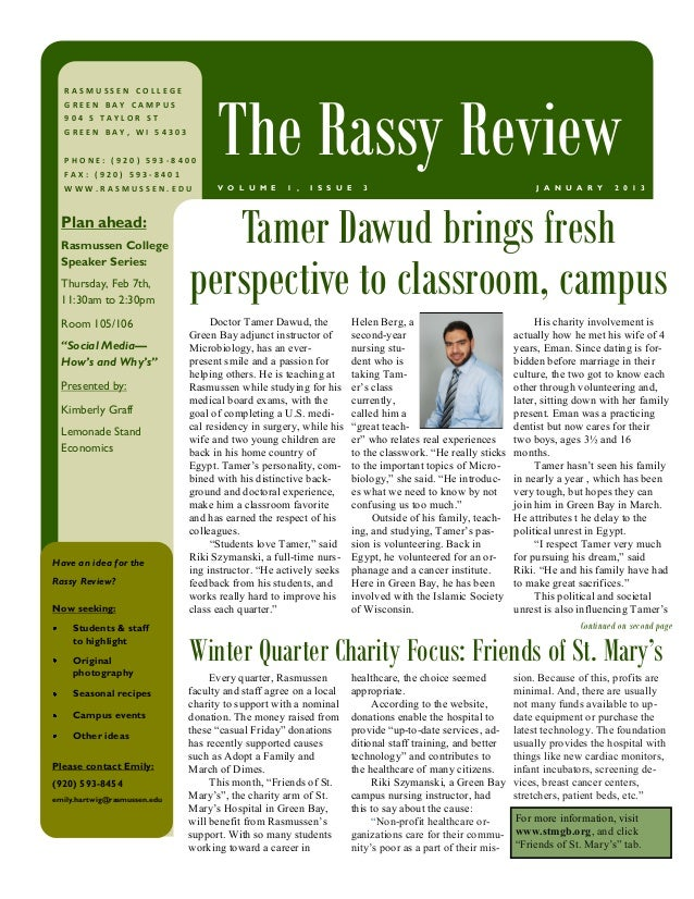 The Rassy Review  RASMUSSEN COLLEGE  GREEN BAY CAMPUS  904 S TAYLOR ST  GREEN BAY, WI 54303  PHONE: (920) 593-8400  FAX: (...