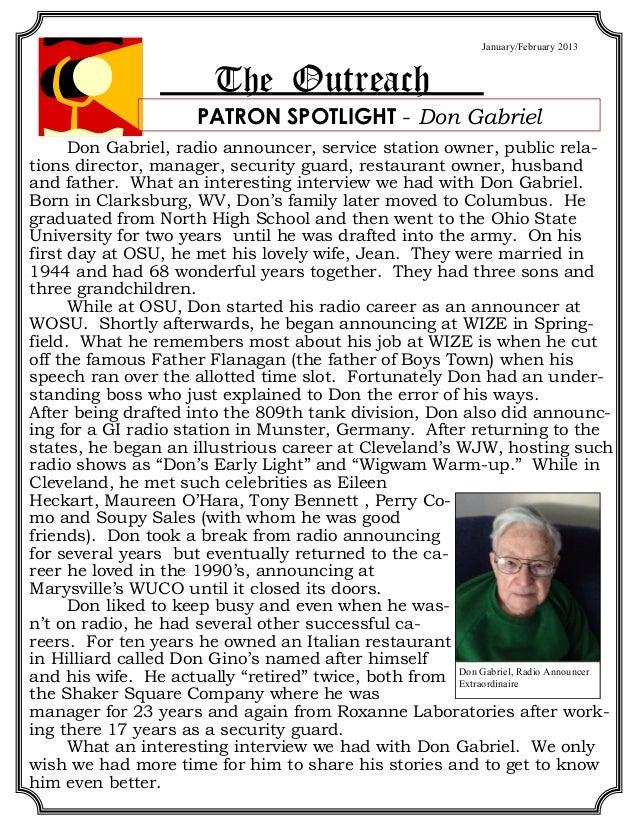 January/February 2013                         The Outreach                       PATRON SPOTLIGHT - Don Gabriel      Don G...