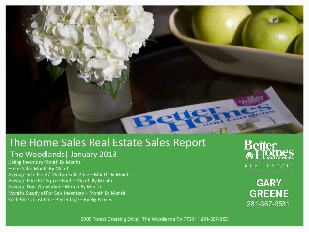 The$Home$Sales$Real$Estate$Sales$Report$$The$Woodlands|$January$2013$Lis>ng$Inventory$Month$By$Month$Home$Sales$Month$By$M...