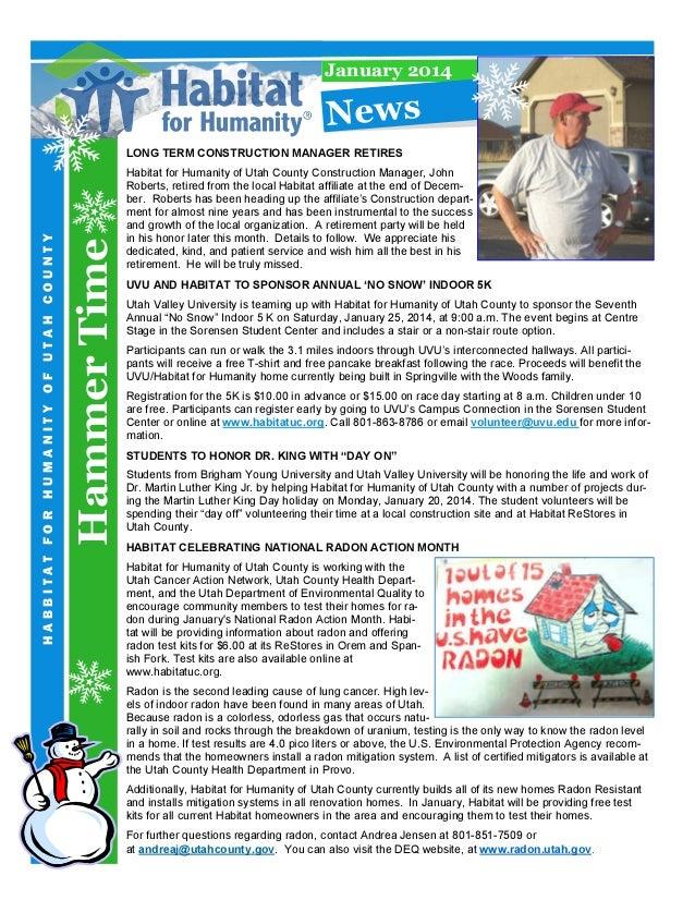 January 2014  N e w s  Hammer Time  HABBITAT FOR HUMANITY OF UTAH COUNTY  LONG TERM CONSTRUCTION MANAGER RETIRES  Habitat ...