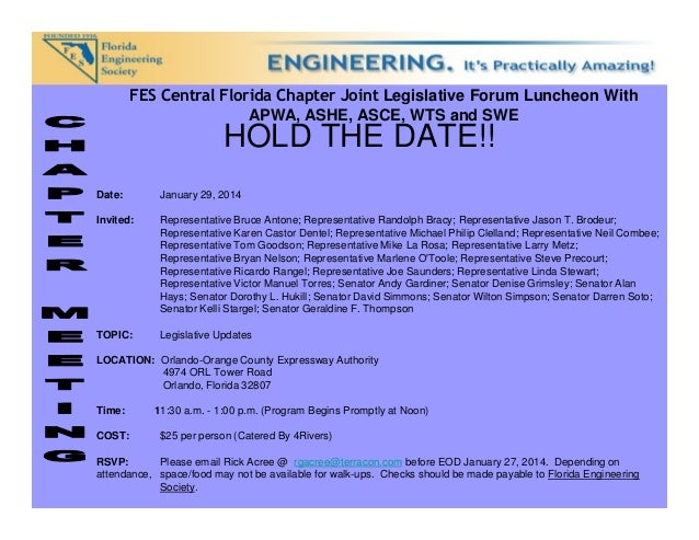 FES Central Florida Chapter Joint Legislative Forum Luncheon With APWA, ASHE, ASCE, WTS and SWE  HOLD THE DATE!!  Date:  J...