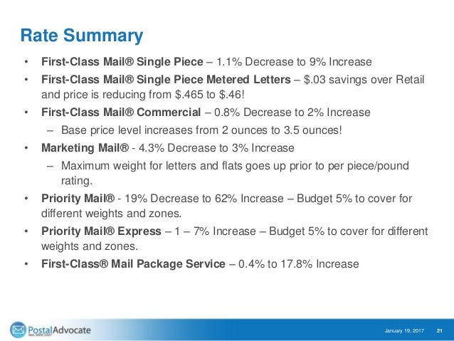 21 rate summary first class