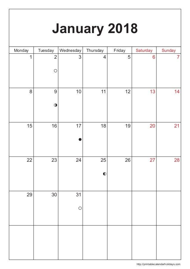 January 2018 Calendar Template 2