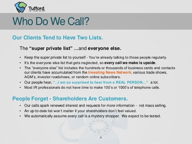 """Our Clients Tend to Have Two Lists. The """"super private list"""" …and everyone else. • Keep the super private list to yourself..."""