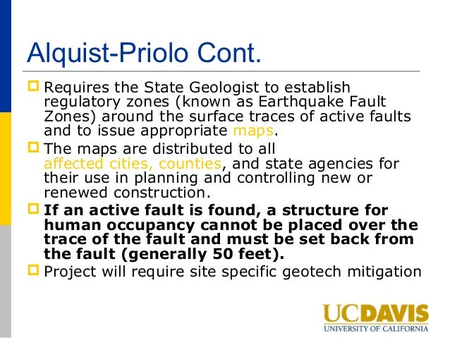 a Zoning Laws For fault rupture Alquist Priolo Act For ...