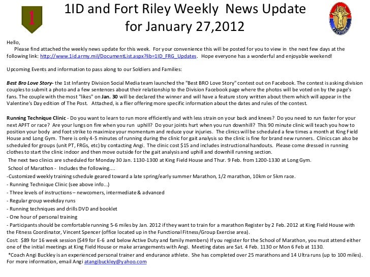 1ID and Fort Riley Weekly News Update                                   for January 27,2012Hello,    Please find attached ...