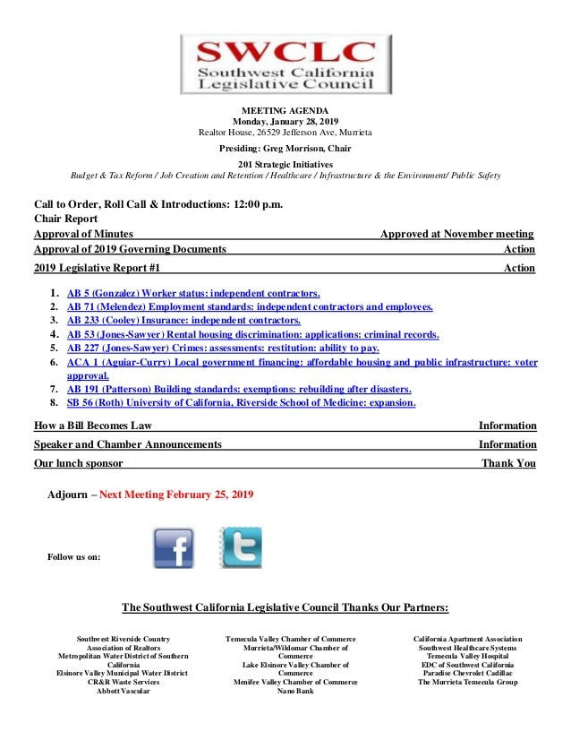 January Southwest California Legislative Council Agenda