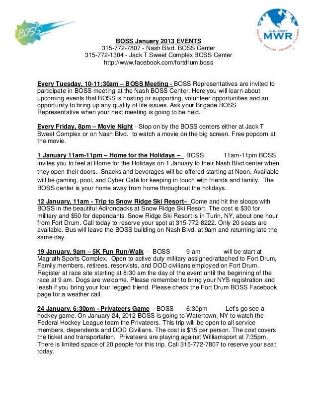 BOSS January 2013 EVENTS                      315-772-7807 - Nash Blvd. BOSS Center                 315-772-1304 - Jack T ...