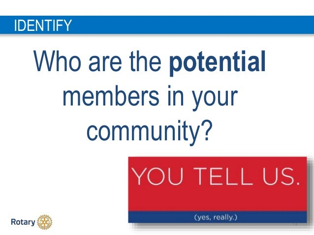 1 4 Who are the potential members in your community? IDENTIFY