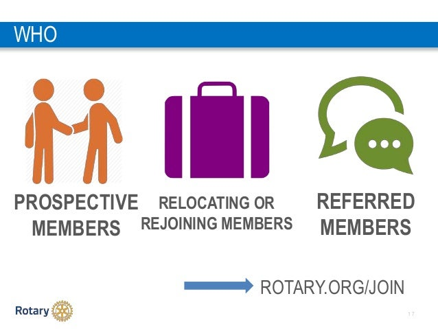 1 7 WHO PROSPECTIVE MEMBERS RELOCATING OR REJOINING MEMBERS REFERRED MEMBERS ROTARY.ORG/JOIN