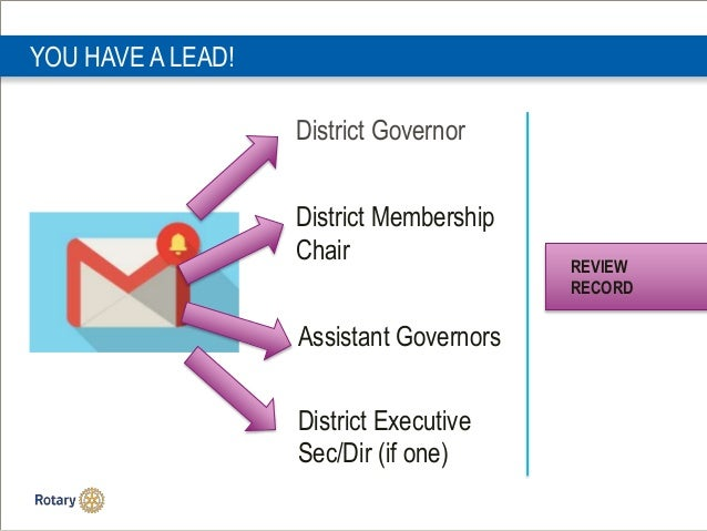 YOU HAVE A LEAD! District Governor District Membership Chair Assistant Governors District Executive Sec/Dir (if one) REVIE...