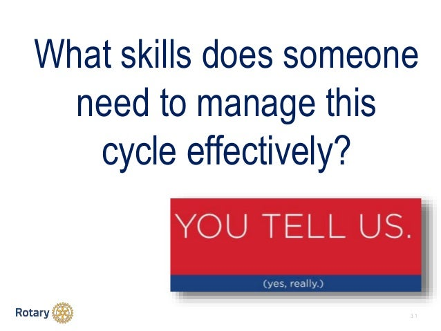 3 1 What skills does someone need to manage this cycle effectively?
