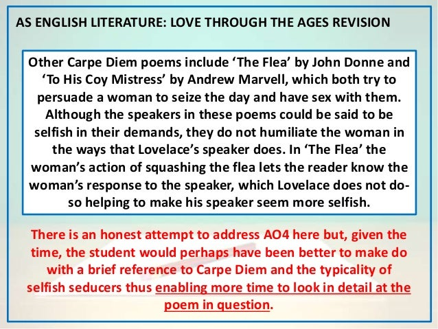 the role of the speaker in andrew marvells to his coy mistress Andrew marvell: poems in to his coy mistress how is the tone and mood change in each of the section and how is the effect to his coy mistress  in this poem, though, the speaker only uses these devices to suggest that distancing himself from his lover is mindless, because they do not have the limitless time necessary for the speaker to.