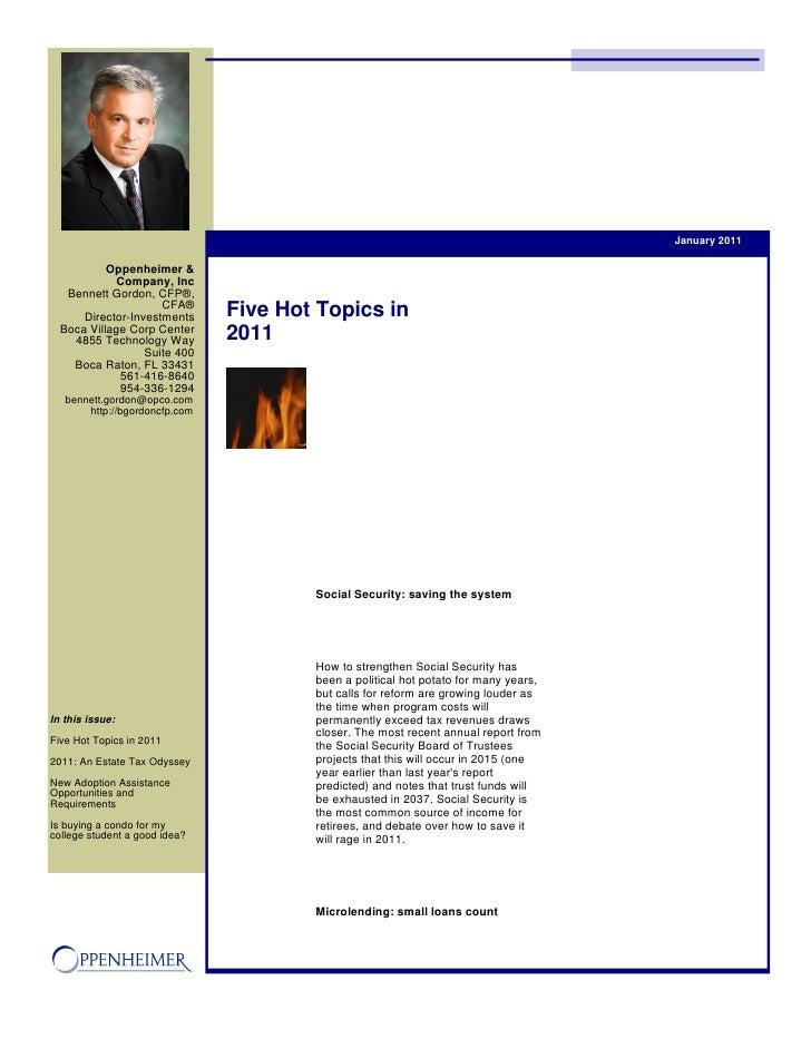 January 2011           Oppenheimer &             Company, Inc   Bennett Gordon, CFP®,                     CFA®      Direct...