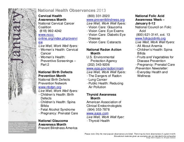 National Health Observances 2013Cervical Health                   (800) 331-2020                                          ...