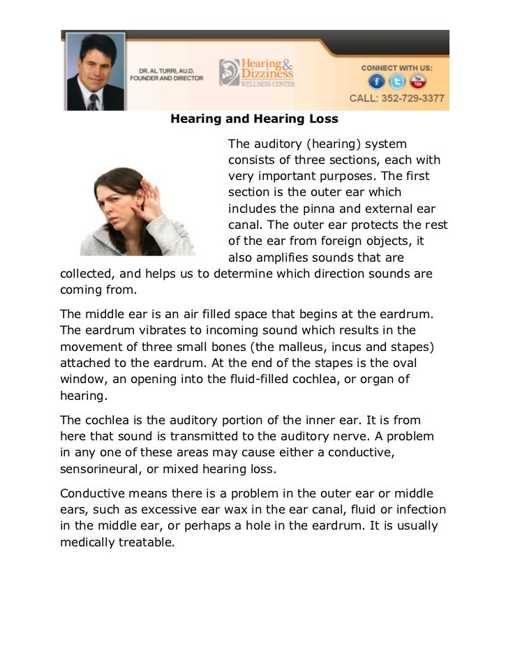 Hearing and Hearing Loss                             The auditory (hearing) system                             consists of...