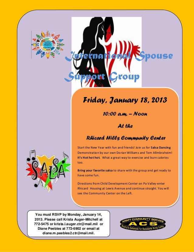 International Spouse                  Support Group                             Friday, January 18, 2013                  ...