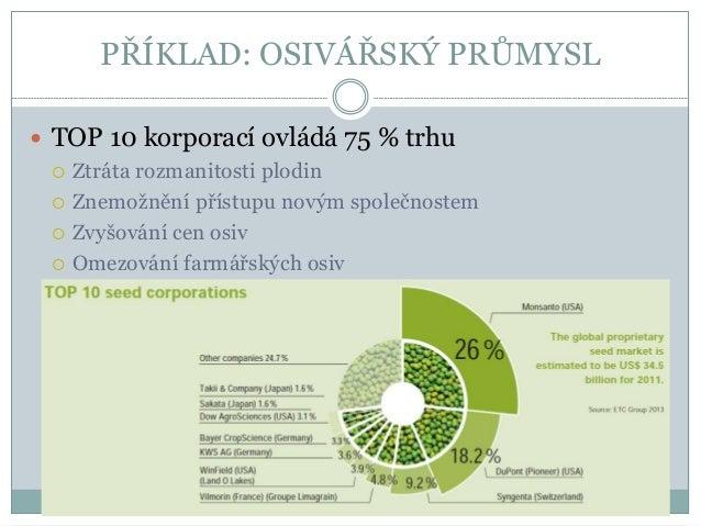 VERTIKÁLNÍ INTEGRACE  3 největší osivářské firmy jsou zároveň vůdčími společnostmi v produkci pesticidů