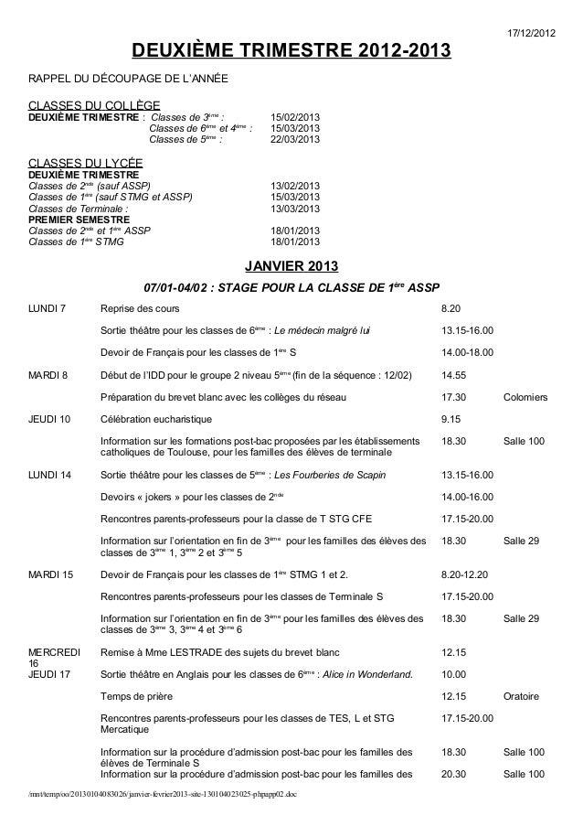 17/12/2012                              DEUXIÈME TRIMESTRE 2012-2013RAPPEL DU DÉCOUPAGE DE L'ANNÉECLASSES DU COLLÈGEDEUXIÈ...