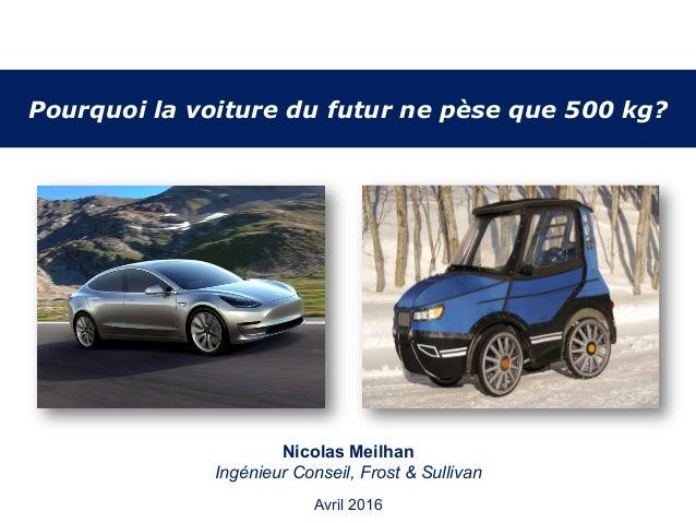 Pourquoi la voiture du futur ne pèse que 500 kg? January 2012 Nicolas Meilhan Ingénieur Conseil, Frost & Sullivan Avril 20...