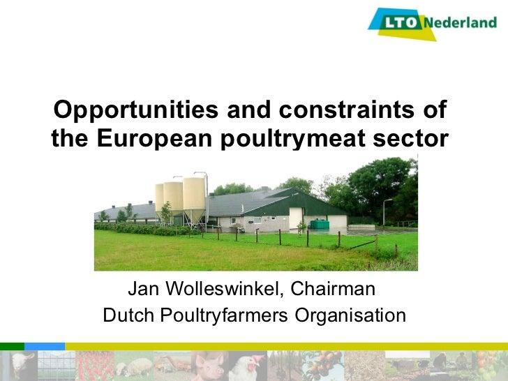 Opportunities and constraints of the European poultrymeat sector Jan Wolleswinkel, Chairman Dutch Poultryfarmers Organisat...