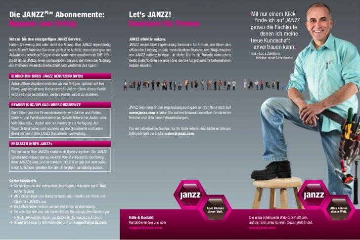 Die JANZZPlus Abonnemente:                                             Let's JANZZ!                                      ...