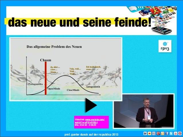 das neue und seine feinde!prof. gunter dueck auf der re:publica 2013VIdeolink: www.youtube.com/watch?v=uPU1y9V3jL4Min. 0:5...