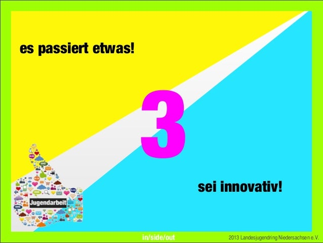 es passiert etwas!sei innovativ!2013 Landesjugendring Niedersachsen e.V.3in/side/out