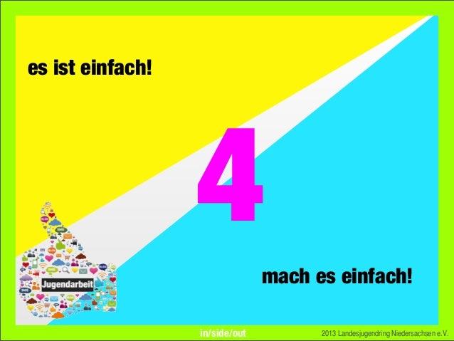 es ist einfach!mach es einfach!2013 Landesjugendring Niedersachsen e.V.4in/side/out