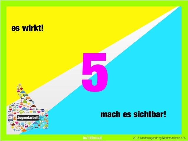 es wirkt!mach es sichtbar!2013 Landesjugendring Niedersachsen e.V.5in/side/out