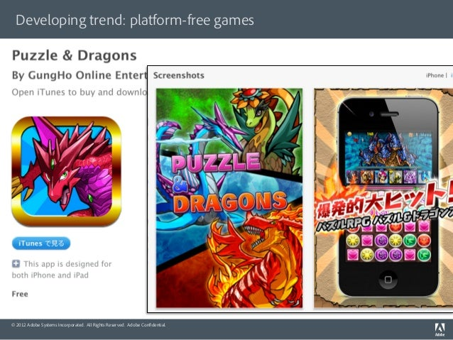 Developing trend: platform-free games© 2012 Adobe Systems Incorporated. All Rights Reserved. Adobe Confidential.