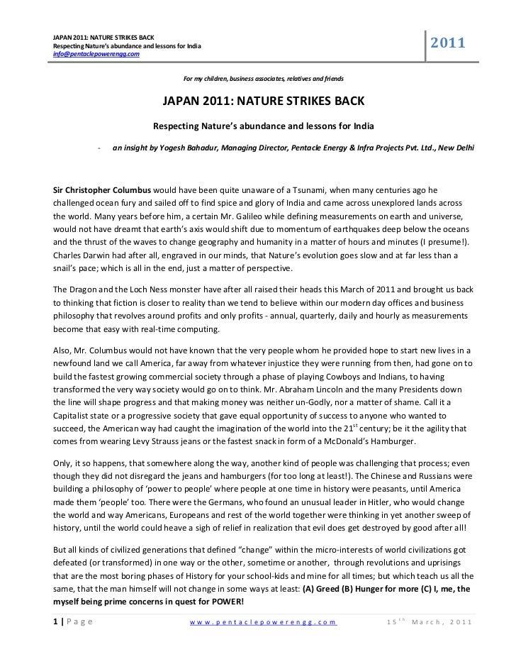 2011JAPAN2011:NATURESTRIKESBACKRespectingNature'sabundanceandlessonsforIndiainfo@pentaclepowerengg.com     ...