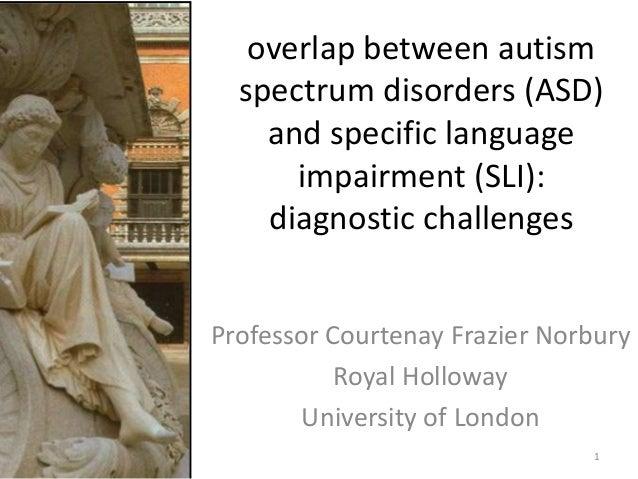 overlap between autism spectrum disorders (ASD) and specific language impairment (SLI): diagnostic challenges Professor Co...
