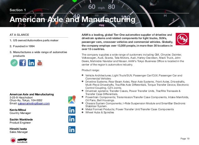 Section 2 Other North American Tier 1 Companies Page 20 The full version of the Japan AutoBook includes profiles of the fol...