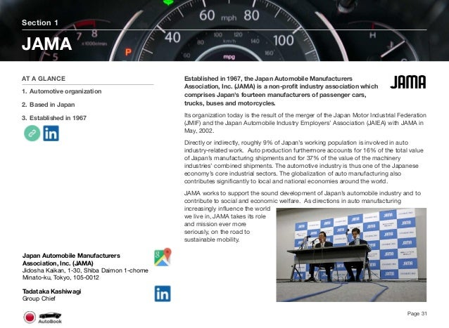 Section 2 Other Automotive Organizations Page 32 The full version of the Japan AutoBook includes profiles of the following ...