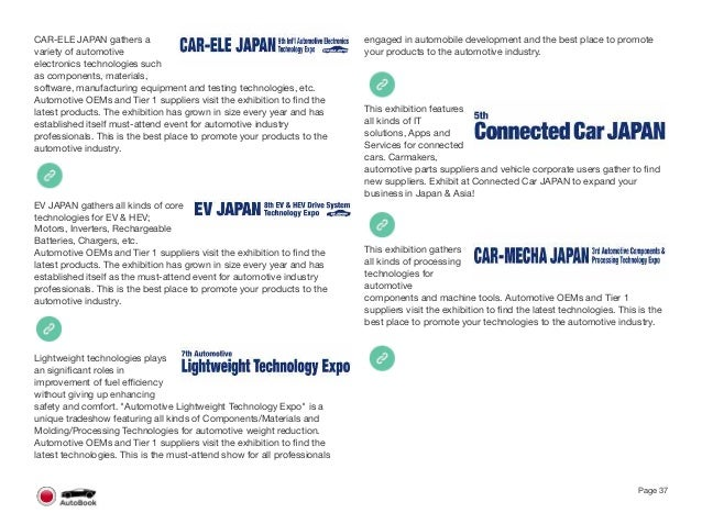 Section 2 Other Japanese Automotive Events Page 39 The full version of the Japan AutoBook includes profiles of the followin...